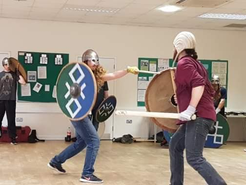 Two members of Odin's Aett practise single combat