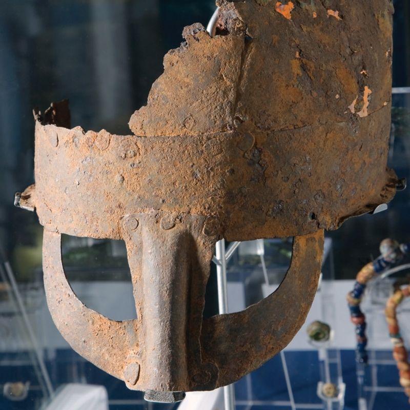 A 10th Century Viking Helmet on display at Preston Park Museum