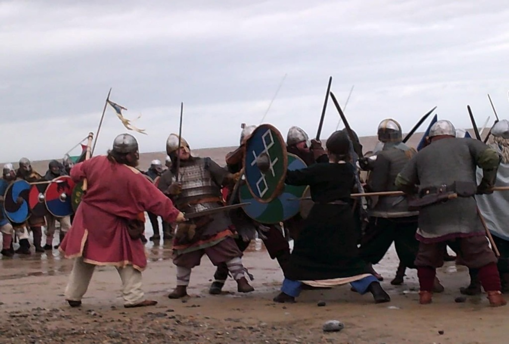Odins Aett Viking Reenactors fighting on the beach at Sheringham February 2020